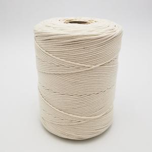 Cordón de algodón trenzado blanco sin núcleo flexible para macramé