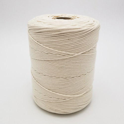 Off white braided cotton cord without flexible core for macrame