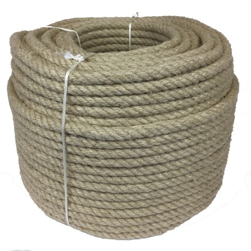Natural hemp rope 26mm visible fibers rustic look crown 100m