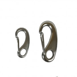 Stainless steel flat carabiner with closed eye