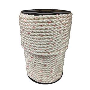 Cuerda de poliamida 10mm blanco hilo rojo 100m